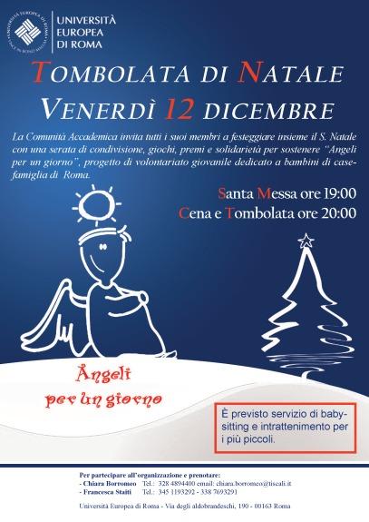 Locandina Cena Auguri di Natale e Tombolata presso l'Università Europea di Roma